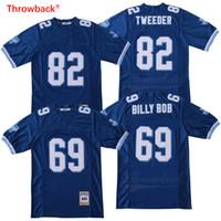 preços de camisola de futebol venda por atacado-dos homens de Preço Baixo Billy Bob 69 Charlie Tweeder 82 camisa de futebol americano Blue Movie Referência costurado Hight qualidade