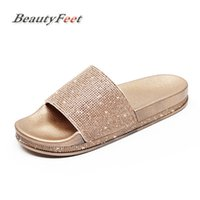 Wholesale bling pu slipper resale online - Summer Solid Flat Rhinestone Bling Slippers Home Indoor Women Non slip Crystal Slippers Beach Flip Flops Women s Slides Shoes