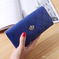 Wholesale purple gold striped tie for sale - New Crown Women Wallets Fashion Plaid Clutch Lady Purse Famous Brand Designer Long Hasp Purse Money Phone Card Holder Coin Pocket