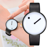 ingrosso orologi bianchi affrontati per gli uomini-Orologio da polso da uomo in pelle stile minimalista, design minimalista, quadrante nero, quadrante bianco, quadrante nero