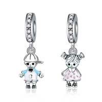 chico chica encanto de plata al por mayor-Nuevo Se adapta a Pandora Pulseras 20 unids Boy Girl Dangle Charms Beads Silver Charms Bead For Wholesale Diy Collar Europeo Accesorios de la joyería