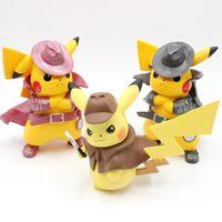 q hediye toptan satış-2019 Film Dedektif Pikachu PVC 17 cm Rakam Gitmek Kızgın Kawaii Sevimli Q Heykeli Bebek Model Oyuncaklar Figura Heykelcik Çocuk Hediyeler için Doğum Günü C31