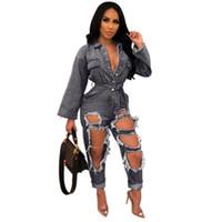 macacão v pescoço preto venda por atacado-Buracos na moda Rasgado Mulheres Jeans Macacões Azul Preto Sexy Mangas Compridas Botões V Neck Sash Reta Calças Macacão