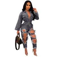 sexy jeans overalls großhandel-Modische Löcher zerrissene Frauen Jeans Overalls blau schwarz sexy langen Ärmeln Tasten V-Ausschnitt Schärpe gerade Hosen Strampler