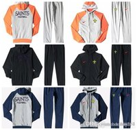 Wholesale New Orleans Saints Men S Print Full Zip Sportswear Men S Sport Suit Bodysuit Plus Pantsuit Blue Ash Black Orange white splicing