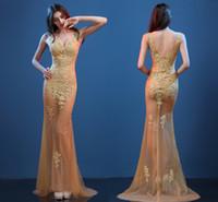 ingrosso modello del collo posteriore-Abiti da sera oro sexy modelli prospettiva Slim abiti coda di pesce Nightclub Sexy scollo a V profonda abiti da ballo Prom