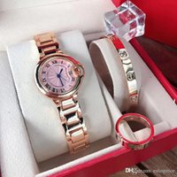 Wholesale quartz watches sets for women for sale - Group buy Top Brand Sets Women Watch bracelet Ring Luxury rose gold Stainless Steel band wrist watches For ladies best Gift Relogio Feminino