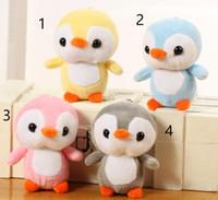 niedlicher pinguin plüsch großhandel-4 Farben, kleine süße 12cm ca. kleiner Pinguin kleiner Plüsch angefüllte Spielwaren, Geschenkbabyspielwaren L