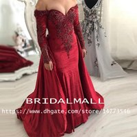 Wholesale velvet african fashion dresses resale online - South African Crystals Burgundy Velvet Evening Dresses Overskirts Plus Size Formal Party Gowns Long Sleeves Arabic Prom Dress Vestidos