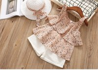Wholesale broken flowers girl for sale - Group buy Chiffon Camisole Two Piece Suit Tong Suit Broken Flower Girl Two Piece Set Give Hats