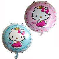 hello kitty doğum günü balonu toptan satış-Toptan 50 adet / grup Hello Kitty Doraemon Folyo Balonlar Parti Doğum Günü Dekorasyon Balonlar Çocuklar Için Şişme Karikatür Helyum Balon