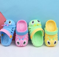 Wholesale girls summer flat shoes resale online - Kid Summer Caterpillar Sandals Slippers Caterpillar Cartoon Anmial Sandals Boys Girls Beach Hole Baby Outdoor Shoes KKA7884