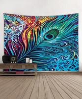 shaws pluma impressa venda por atacado-Presente para housewarming colorido bonito colorido pavão Impresso tapeçaria de suspensão Decoração Wall Art beachtowel Bandeira Xaile