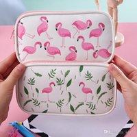 mesh-reißverschluss-etui großhandel-Cartoon Flamingo-Bleistift-Kasten Reißverschluss-Feder-Kasten mit hohen Kapazität Multi-Funktions-Briefpapier-Beutel Studenten Einfachheit Mesh-Stoff 5 2mxb1