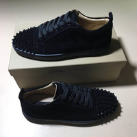 Wholesale dress shoes rubber spikes for sale - Group buy Top quality Designer shoes Spike Red bottom Sneakers leather shoes casual dress shoes Suede luxury men women sneakers size with box dust bag