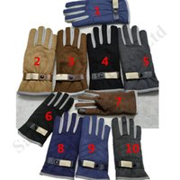 Wholesale free people leather for sale - Group buy Designer Men Brand U G Winter Gloves Australia Suede Fur Leather Touch Screen Gloves Outdoor Bike Mittens Windproof Warm Fleece GloveC101805