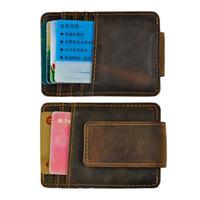 Wholesale horse wallet sale for sale - Group buy Money Clip Magnet Men Wallet Crazy Horse Leather Hot Sales Vintage Design By DHL