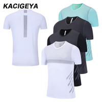 ingrosso asciugare sportivo fit magliette-unning T-shirt GymTraining Shirts Dry Fit T-shirt Compression Style manica corta fitness Maillot corso Homme Sport kostium Collant ...