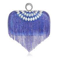 pics wasser großhandel-2019 beliebte mode einfarbig hohl frauen handtasche diamant prozess wasser welle band pic abendessen abendtasche mit fransen