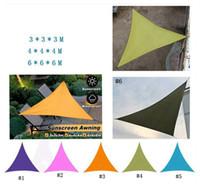 güneşlik şemsiyeler toptan satış-Güneş Barınakları Su geçirmez Üçgen Güneşlik Veranda Havuz Gölge Açık Kanopi Yelken Tente Courtyard Balkon 3 * 3 * 3M MMA1958-6