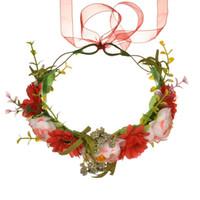 kranz frühling großhandel-30 STÜCKE Blume Crown Rose Kränze Fünf Farben Manuelle Cane Ästhetizismus Haarband Frauen Künstliche Blumen Frühling Strand Reise