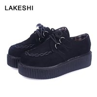 siyah sülükler dantel toptan satış-Creepers Kadın Ayakkabı Kadın Düz Bir Platform Ayakkabı Siyah Moda Dantel-Up Rahat Süet Creepers 10 Renkler 35-41