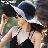ingrosso cappello arancio derby-Berretto da spiaggia in paglia per donna, cappello estivo da spiaggia, ampio e ampio, a forma di cappello da spiaggia, per donna, da donna, arancio e arancione
