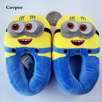 Wholesale despicable toys resale online - 3D minions slippers woman Winter Warm slippers Despicable Minion Stewart Figure Shoes Plush Toy Home Slipper One Size Doll S20331