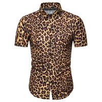 ingrosso uomini della camicia del manicotto del leopardo-Camicie a maniche corte da uomo Miicoopie per camicie da uomo casual moda stampa leopardata estiva