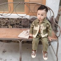 Wholesale Baby boy clothes boys suits baby infant boy designer clothes long sleeve shirts trousers boys designer clothes retail A8156