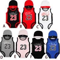 sportspielanzug baby großhandel-Sommer Sleeveless NO.23 Babyspielanzug Basketball Baumwolle Komfortable Kinder Strampler Kinder Sport Kleidung mit Kappe