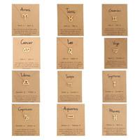 ingrosso segni zodiacali gioielli in oro-Caldo 12 collane zodiaco con segno di costellazione di carte regalo Catene in oro Collana per uomo Gioielli moda donna in massa
