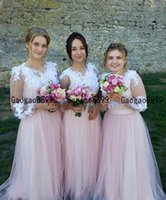 Wholesale flower girl dresses coral red resale online - Blush Pink Long tulle Bridesmaids Dresses Sheer Long Sleeves Appliques Lace Cheap girl dress Maid of Honor Country Wedding Guest Gowns