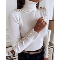 alttan gömlek gömleği toptan satış-Sonbahar Kış Yüksek Kalite Moda Kadınlar Gömlek Düğmeleri Katı Renk Turtleneck dibe Gömlek Üst Kadınlar Tişörtü Siyah Beyaz Renk