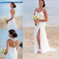 strass halfter brautkleider großhandel-2019 Neckholder Perlen Chiffon Mermaid Brautkleider High Side Split Plus Size Brautkleider Strass Backless Boho Beach Wedding Dress