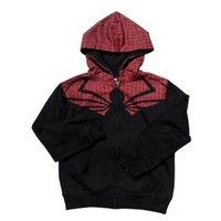 ingrosso grandi abiti adolescenti-Tessuto in spugna di cotone Spider man Giacca in pile di Big Boys per bambini Autunno Inverno Cappotto con cappuccio per teenager Abbigliamento per bambini