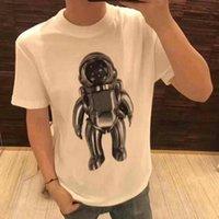 galáxia dos homens camisetas venda por atacado-Designer Da Marca Dos Homens Tshirt de Luxo T-shirt Da Moda Galaxy Clássico Astronauta Impressão T Camisa de Algodão Vestuário casual Tee Tops 2019 Primavera