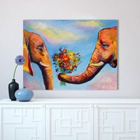 Wholesale abstract couple paint resale online - 1 Wall Art Pictures For Living Room Colorful Elephant Couple Flowers Animal Painting Canvas Oil Painting No Frame