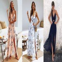 blumenhalfter chiffon kleid großhandel-Heiße Art-reizvolle Kleider für Frauen-Blumen gedruckte Frauen-Halter-Oberseite V-Ansatz langes Chiffon- Kleid aufgeteilte Strand-Art-Kleid mit Bogen