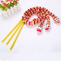 Wholesale stick sound toys resale online - Pet Kitten Cat Toy Cartoon Rainbow Snake Toys Head With Sound Box Teasing Cats Stick New Arrival pe L1