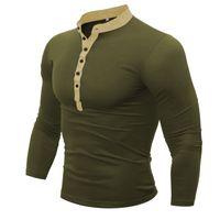 manga larga polo v cuello al por mayor-Camisa polo para hombre Moda de manga larga para hombre Botón delgado con cuello en V sólido sólido Polos Hombres Camisetas M-3XL