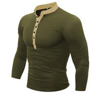 ingrosso mens polo v collo-Polo da uomo Manica lunga da uomo Moda Casual Slim Solid V-Neck Button Polo Maglie da uomo M-3XL