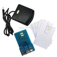 çift kart sim iphone 5s toptan satış-LTE WCDMA ICCID SIM USIM 4G güvenli kart okuyucu ile 5 adet boş programlanabilir kart + SIM araçları kişiselleştirmek