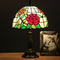Wholesale red country lamp for sale - Group buy 12 Inch Flesh Country Red Flowers Table Lamp Wedding Room Bedside Light American Style Stained Glass Desk Lamp for Bedroom E27 V