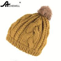 ingrosso beanie invernale di pompom rosa-Achiewell Winter Casual Women Beanie Pompom Twist Female Hat Cappellino invernale colore giallo rosa