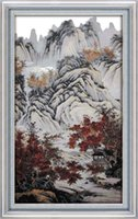 Wholesale autumn tree paintings for sale - Group buy Autumn mountains red trees home decor painting Handmade Cross Stitch Embroidery Needlework sets counted print on canvas DMC CT CT