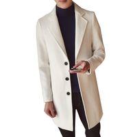 abrigos de lana slim fit hombres al por mayor-Abrigo de lana de color sólido de los hombres de Inglaterra Medio Abrigos Largos Chaquetas Slim Fit Hombre Abrigo de invierno Abrigo de lana Abrigo Más Tamaño M-5XL