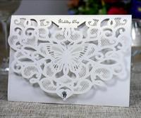kristalle für einladungen großhandel-Hohe Qualität Laser Cut Hohl Schmetterling Hochzeitseinladungskarten Mit Kristall Personalisierte Braut Einladungskarten Für Party