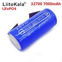 yüksek deşarjlı pil toptan satış-2019 LiitoKala 3.2V 32700 7000mAh 6500mAh LiFePO4 Batarya 35A Sürekli Boşalma Maksimum 55A Yüksek güç bataryası + Nikel levhalar 4.8