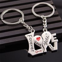 Wholesale key valentine gift online - Metal Heart Shape Lovers Key Buckle Forever Love You Wedding Favors Valentines Day Party Gift Silvery Keys Ring xxD1